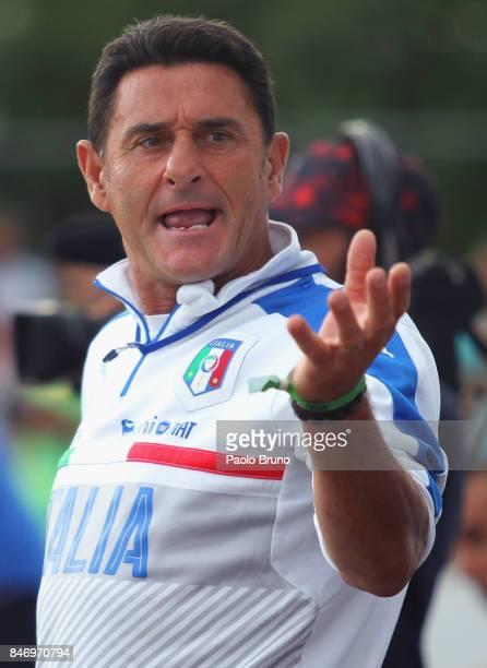 Italy head coach Massimo Agostini reacts during the Euro Beach Soccer League Superfinal match between Italy and Ukraine on September 14 2017 in...