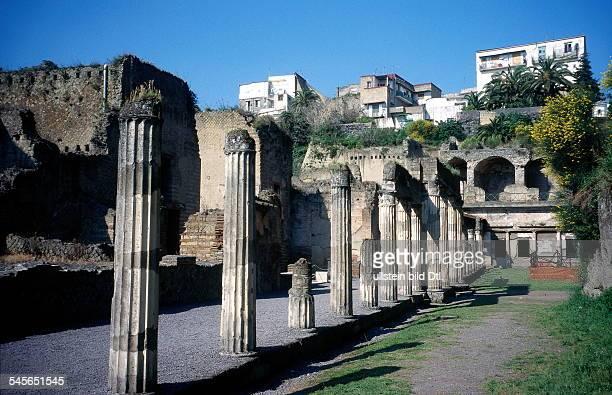 Herculaneum excavations behind modern city of Ercolano