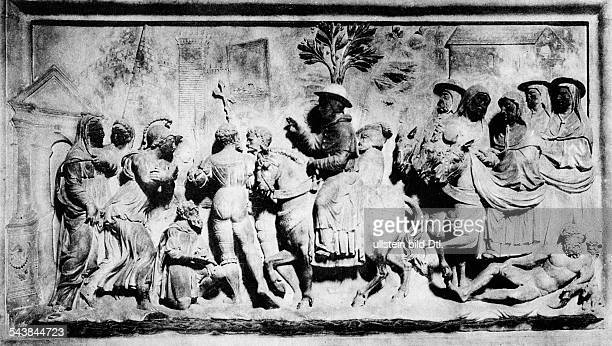 Italy Latium Lazio Rom Roma Rome Relief on the tomb of Pope Adrian VI in the church Sanctae Mariae de Anima in Rome Published by 'Uhu' 8/1929 1928