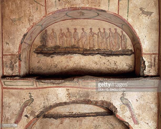 Italy Latium region Rome Hypogeum of the Aurelians Burial chamber niche with mural painting depicting the twelve apostles 3rd century AD