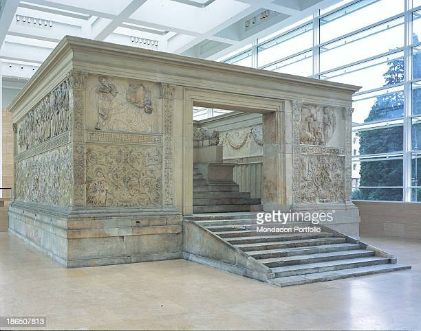 Italy Latium Rome Whole artwork view Foreshortened view with the rectangular podium with figured panels decorated with plant motifs and stories of...