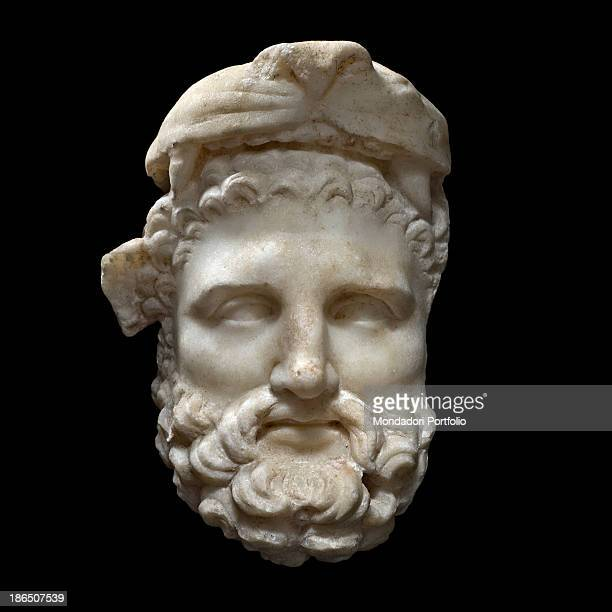 Italy Latium Tivoli Sanctuary of Hercules Victor Whole artwork view The hero is represented as an adult with a full beard and the Leontes on his head...
