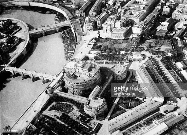 Italy Lazio 1870/186170 Stato Pontifico / Papal State Roma Rome View on the Castel Sant'Angelo with Ponte Sant'Angelo once the Aelian Bridge or Pons...