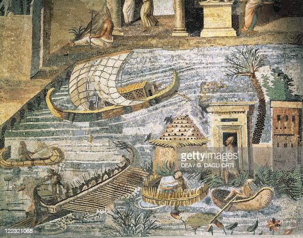 Italy Lazio Palestrina Sanctuary at Praeneste Mosaic work depicting a sailing scene along the Nile