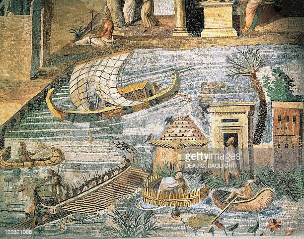 Italy Lazio Palestrina Sanctuary at Praeneste Mosaic work depicting a sailing scene along the Nile