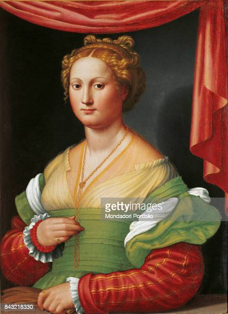 Italy Lazio Rome Borghese Gallery Whole artwork view Portrait of noblewoman possibly Vannozza Cattanei with colourful clothes thick golden hair...