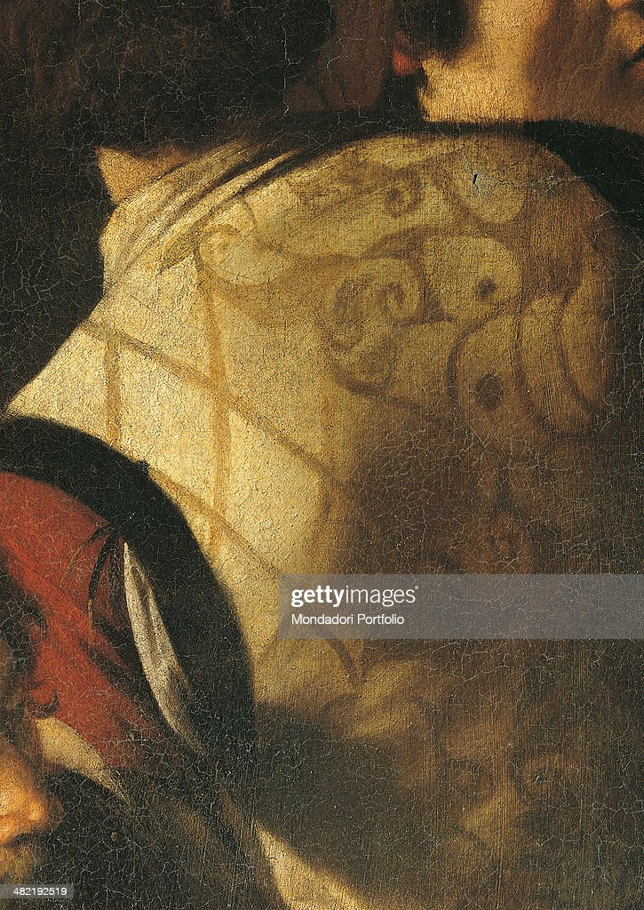 Italy, Lazio, Rome, Church of Saint Luigi dei Francesi. Detail. Clothing of one of the men in the background seen from behind.