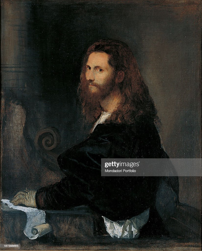 Italy, Lazio, Rome, Galleria Spada, All, Figure of a Young Man, The face, intense and romantic, seems to emerge from the light, framed by the beard and long hair falling over his shoulders, He wears a black dress that contrasts with the shirt, the glove and the cartouche, In the shadow of the background are perceived architectural elements and furnishings,