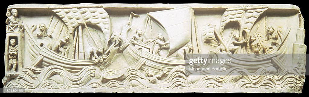 Italy Lazio Rome Museum of Roman Civilization Whole artwork viewSarcophagus carved with a scene of a collision in the waters of Porto during the...