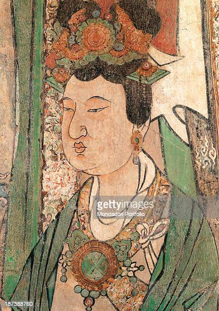 Italy Lazio Rome Palazzo Koch Detail Mural painting representing a donor woman who wears an Oriental tunic adorned with veils and ribbons and...