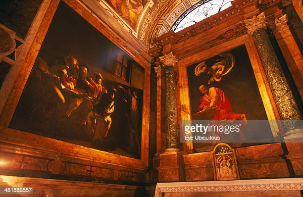 Italy Lazio Rome San Luigi dei Francesi French National Church built in the 16th century Interior view of Caravaggio paintings The Calling of St...