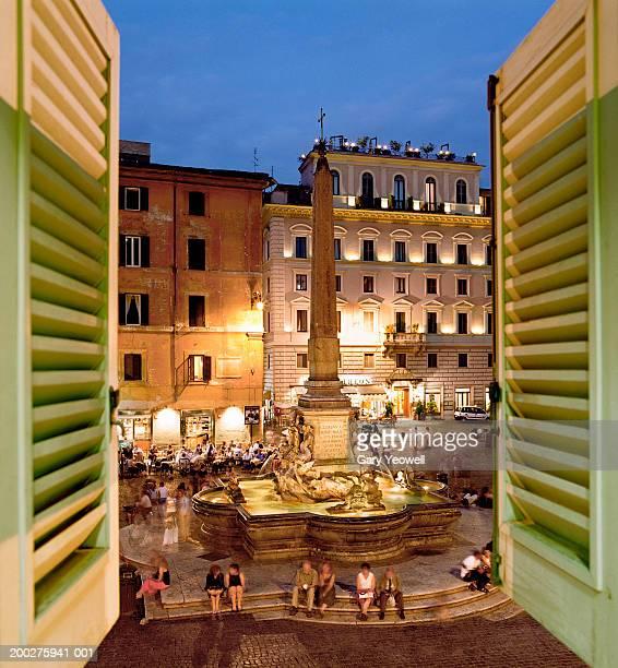 Italy, Lazio, Rome, view of Piazza Della Rotonda through window