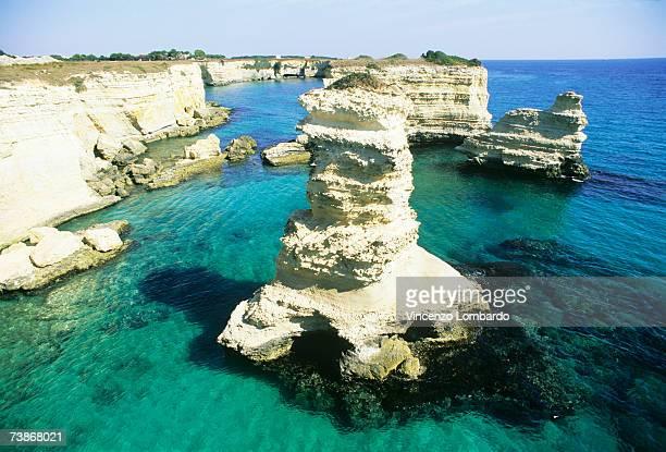 Italy, Lecce, Puglia, Salento, Torre Sant Andrea,, elevated view