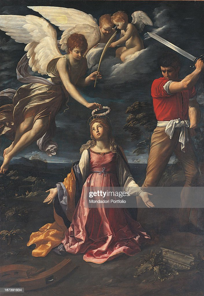 Italy, Liguria, Albenga, Museo Diocesano, All, The Saint, wearing seventeenth-century clothes, receives the wreath and the martyrdom palm from an angel, while a man is about to pierce her with the sword, On the ground, in pieces, the toothed wheel, In the background a landscape with twilight sky,