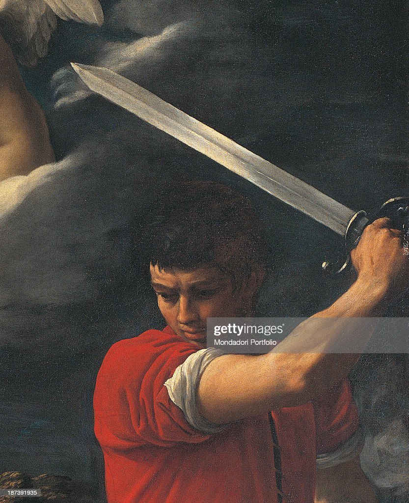 Italy, Liguria, Albenga, Museo Diocesano, Detail of the young man with powerful arm wielding the sword to inflict the death blow to the saint,
