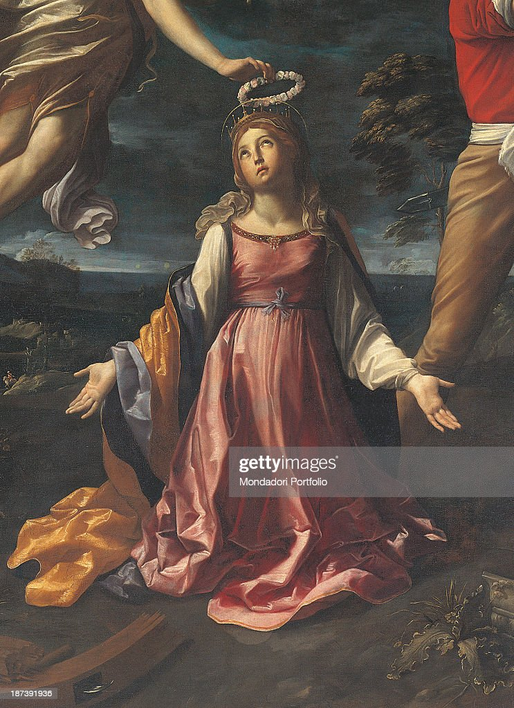 Italy, Liguria, Albenga, Museo Diocesano, Detail, The saint, portrayed as a young woman wearing seventeenth-century clothes, receiving a wreath from the hand of an angel, In the background a landscape with twilight sky,