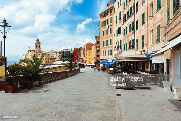 Italy, Liguria, Camogli, Street restaurants by the sea