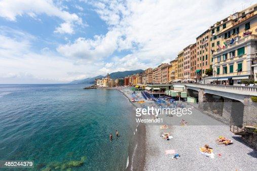 Italy, Liguria, Camogli, View of the lido