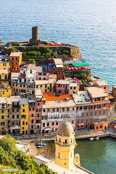 Italy, Liguria, Cinque Terre, View of fishing village Vernazza