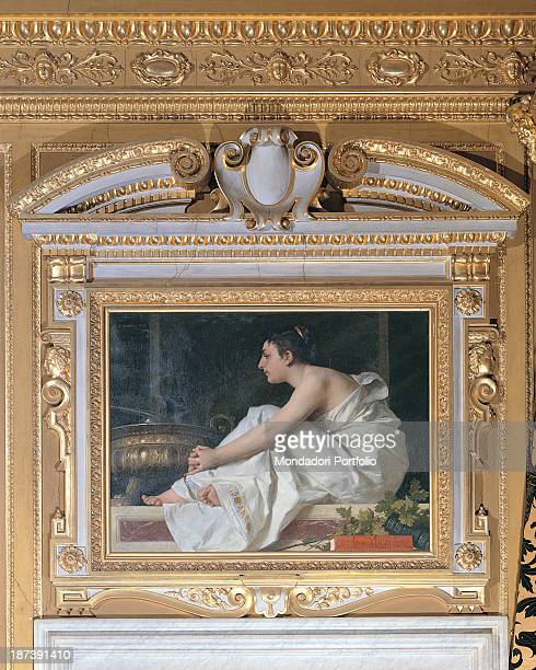 Italy Liguria Genova Palazzo Orsini Detail An overdoor depicting the allegory of Experience there are a draped cloth a book the inscription Rerum...