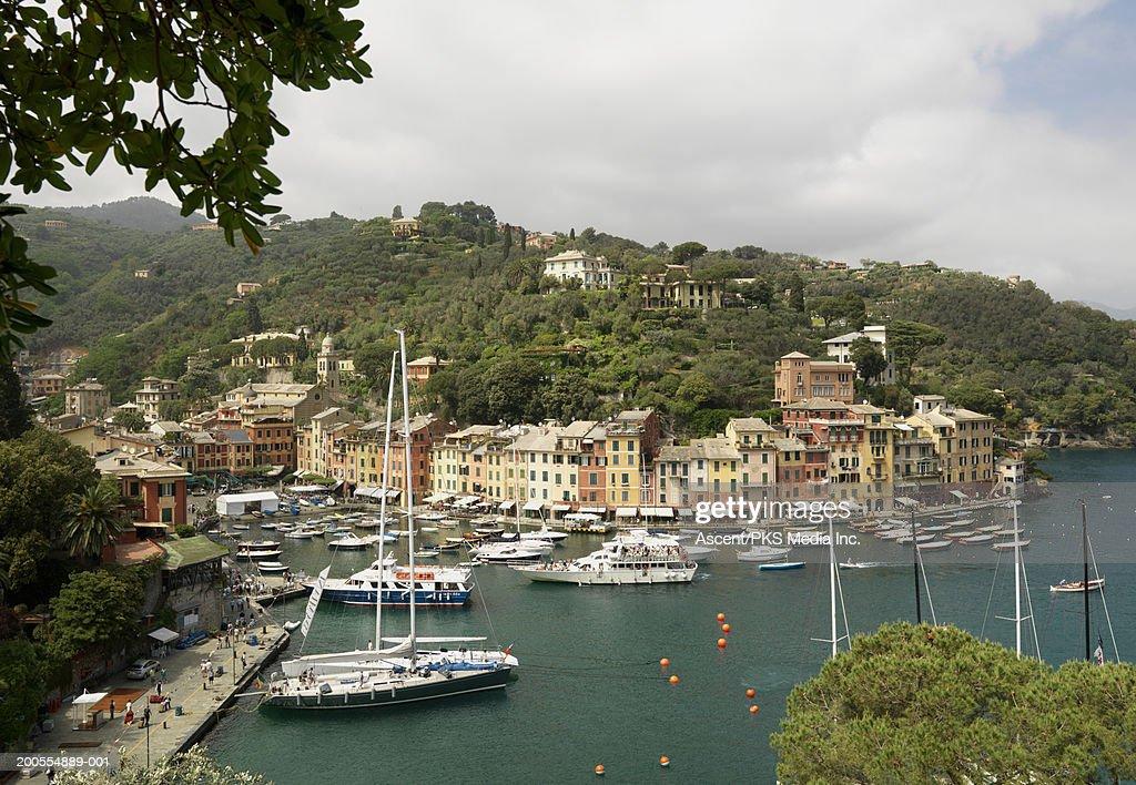 Italy, Liguria, Portofino. View of town, hills and harbour : Stock Photo