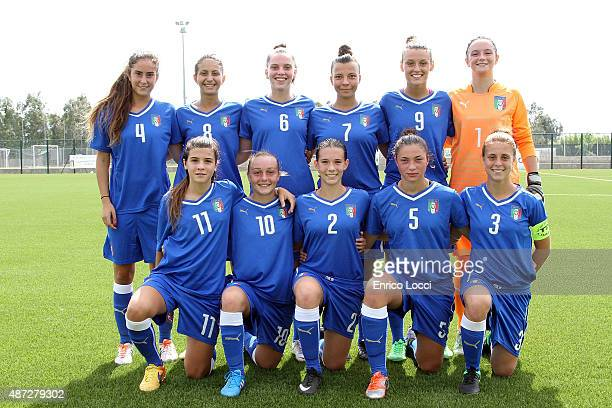 Italy line up during the women's Under19 international friendly match between Italy U19 and Denmark U19 on September 8 2015 in Oristano Italy