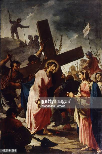 Italy Lombardy Bergamo Church of Saint Alessandro della Croce Whole artwork view Chirst is bearing his Cross Veronica is at his side