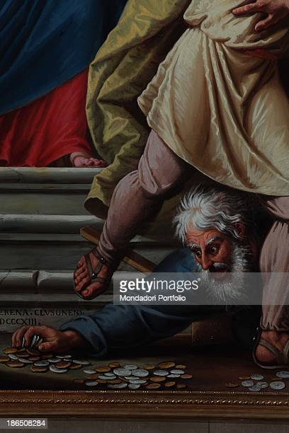 Italy Lombardy Bergamo Clusone Cathedral Detail A merchant is shown while lying on the floor is trying to quickly gather some money