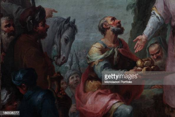 Italy Lombardy Bergamo Sorisole parish church Detail This detail shows the priest Melchizedek as he pays hommage to Abraham offering him a tray of...
