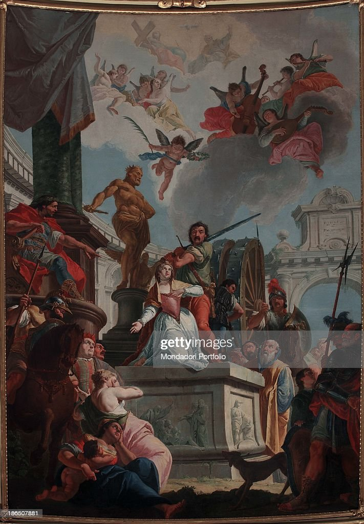 Italy, Lombardy, Bergamo, St, Catherine's church, Whole artwork view, This large painting is placed in the choir altarpiece, Catherine's martyrdom is set as on a theater stage: the young girl is placed on an altar, behind her an armed man is threatening her while in the background the large sprocket can be seen,.