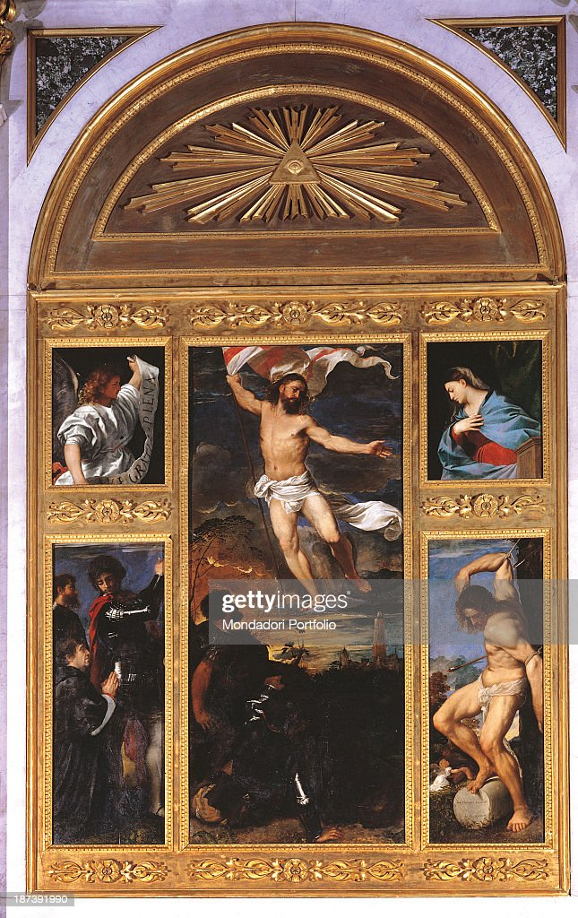 Italy, Lombardy, Brescia, Chiesa dei Santi Nazaro e Celso, All, Risen Christ in the central board, The announcing Angel and the announced Virgin in the two tables of the upper register, Saint Nazarius and Celsus with Altobello Averoldi in the lower left board and Saint Sebastian in the lower right board,