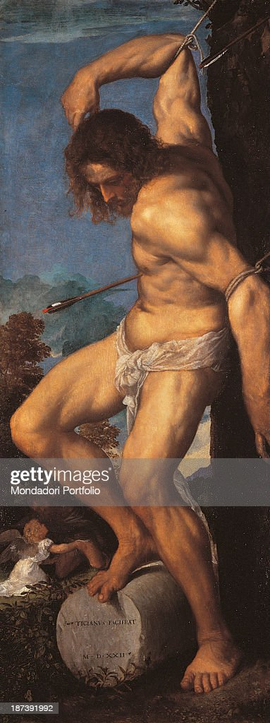 Italy, Lombardy, Brescia, Chiesa dei Santi Nazaro e Celso, All, Saint Sebastian, half-naked and tied up on a column, pierced by arrows, Below, on the left, a little angel with wings and white garment, The right foot of the saint leans on a column on which there is the signature of the author and the date of execution of the work,