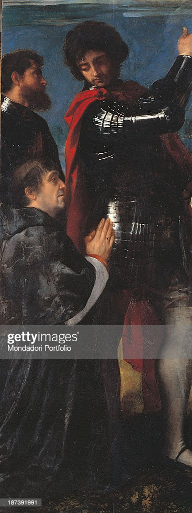 Italy, Lombardy, Brescia, Chiesa dei Santi Nazaro e Celso, Detail, Saint Nazarius and Celsus with Altobello Averoldi, The younger of the subjects portrayed wears an armor with a red cloth on it, In front of him, kneeling, a man with tonsure and cassock, In the background on the left, a man with beard,
