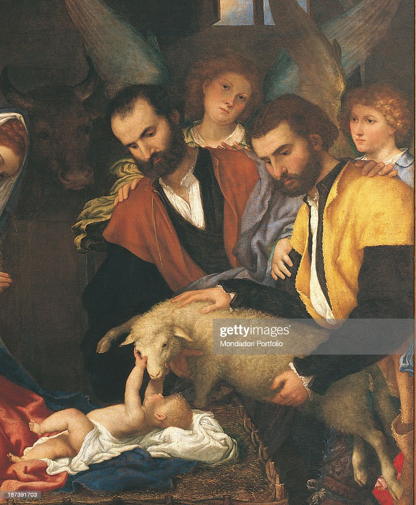 the adoration of the shepherds by lotto lorenzo 16th century