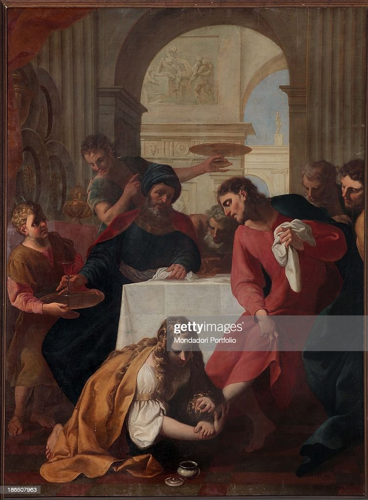 Italy, Lombardy, Brescia, St, John the Evangelist's Church, Whole artwork view, The painting represents the washing of the feet, when Jesus invited to Simon's house meets Magdalene, that washes and dries his feet, facing the astonishment of the other guests.