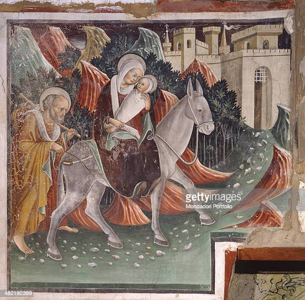 Italy Lombardy Clusone Oratory of the Disciplines Detail Part of the cycle of frescoes dedicated to the life of Jesus The Flight into Egypt with Mary...