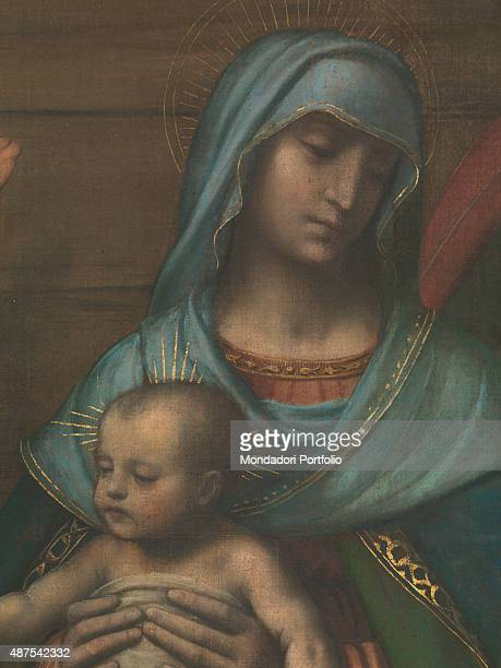 Italy Lombardy Como Como Cathedral Detail Baby Jesus held in Mary's lap being worshipped by the Wise Men