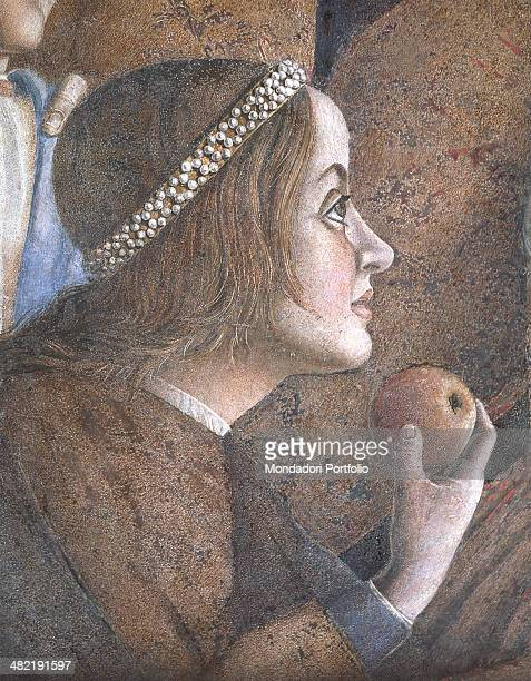 Italy Lombardy Mantua Ducale Palace Detail Face in profile of the daughter of the Marquis Paola biting into an apple