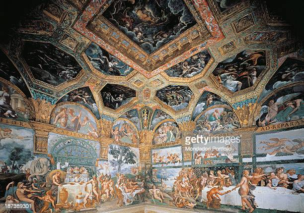 Italy Lombardy Mantua Palazzo Te Detail Foreshortened view of the room of Amour and Psyche