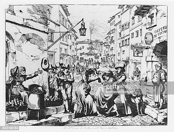 Italy Lombardy Milan Achille Bertarelli Civic Collection of prints Whole artwork view Famous print telling a street women fight near Piazza Barberini...