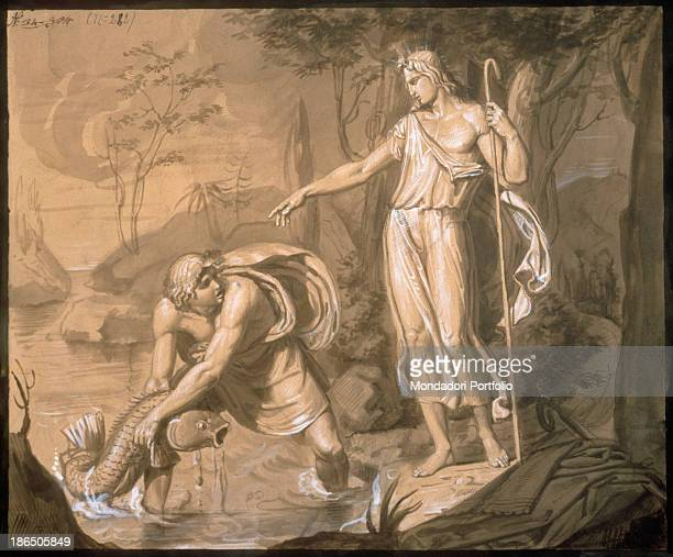 Italy Lombardy Milan Brera Accademy of Fine Arts Whole artwork view On the left Tobias is fishing a fish in a river as the Angel standing on the...