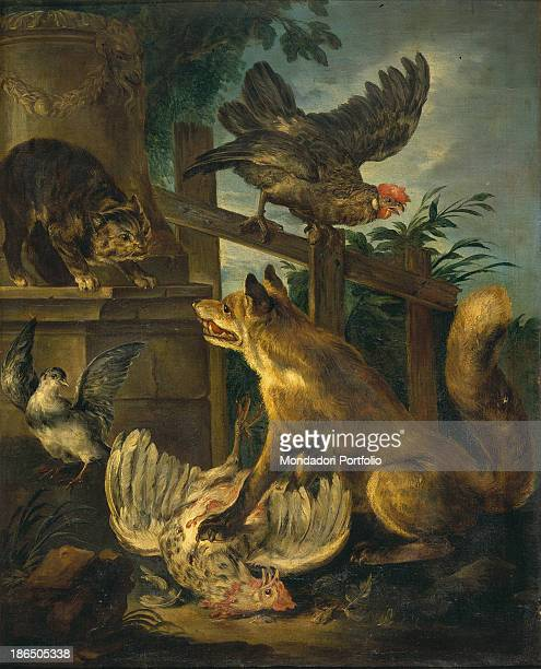 Italy Lombardy Milan Castello Sforzesco Civic Collections of Ancient Art Whole artwork view A fox is plucking a rooster a cat stands in front of it...