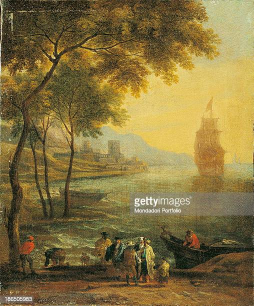 Italy Lombardy Milan Castello Sforzesco Civic Collections of Ancient Art Whole artwork view Some men are in a bay with boats they have just docked...