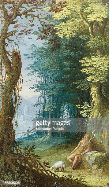 Italy Lombardy Milan Castello Sforzesco Civic Collections of Ancient Art Whole artwork view John the Baptist is sitting on a rock in the woods In...