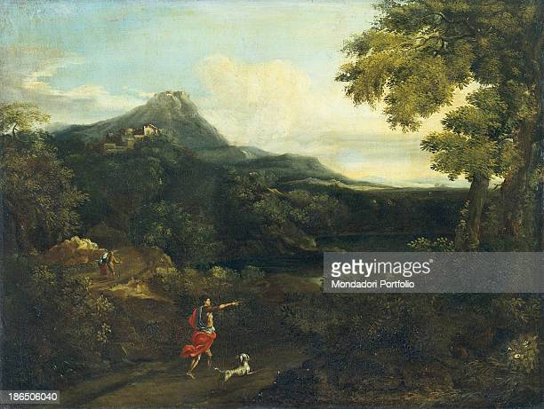 Italy Lombardy Milan Castello Sforzesco Civic Collections of Ancient Art Whole artwork view A man with a dog is wandering in a wood leading to a pond...