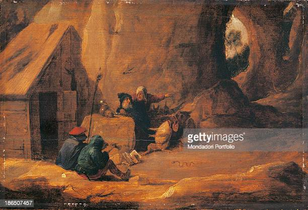 Italy Lombardy Milan Castello Sforzesco Civic Collections of Ancient Art Whole artwork view Saint Anthony sits in front of his humble hut in a rocky...
