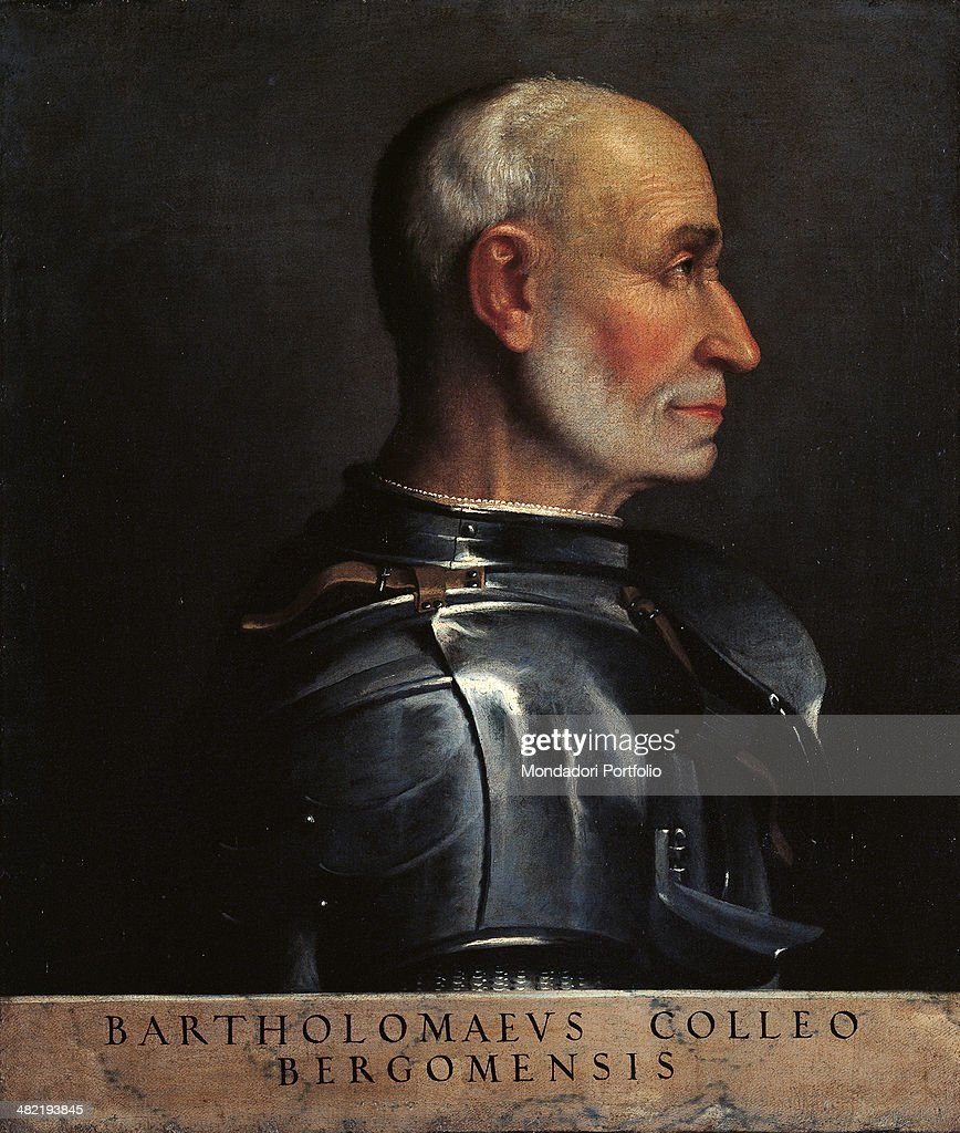 Italy Lombardy Milan Castello Sforzesco Civic Collections of Ancient Art Whole artwork view Halflength portrait of commander in profile In the...