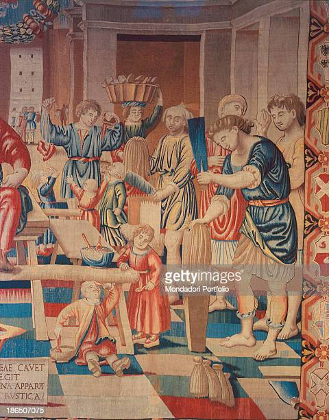 Italy Lombardy Milan Castello Sforzesco Civic Collections of Applied Art Detail A group of people standing near a table during the processing of flax...