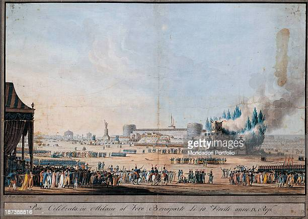 Italy Lombardy Milan Civico Museo di Milano All View of the city during the celebrations Closeup a crowd of soldiers men women on the background the...