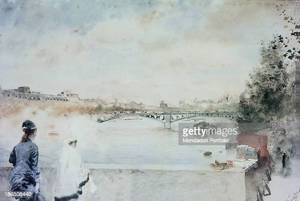 Italy Lombardy Milan Galleria d'Arte Moderna GAM Whole artwork view Two female figures looking at one of the Parisian bridge The bridge cuts...